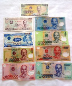Vietnamese Dong (VND) - front (missing 200, 500))