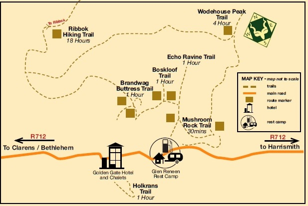 Golden Gate Highlands trail map