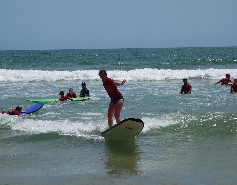 Riding the surf!
