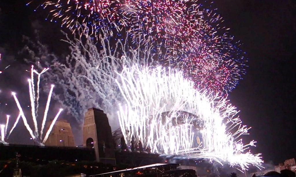 Sydney Harbour Bridge lit up