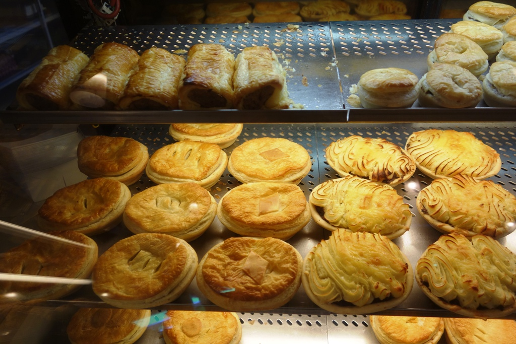 Pie display at one of the many bakeries around