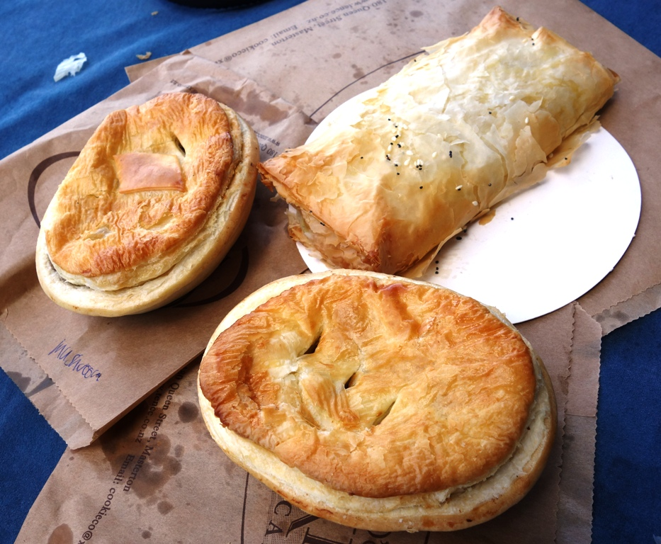 Chicken rosemary filo, steak and kidney pie and steak and cheese pie