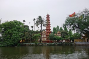 Pagoda of Tran Quoc Temple on the shores of Hanoi's West Lake