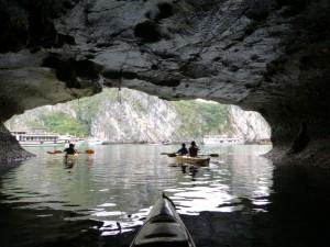 Kayaking in the Dark cave in Lan Ha Bay