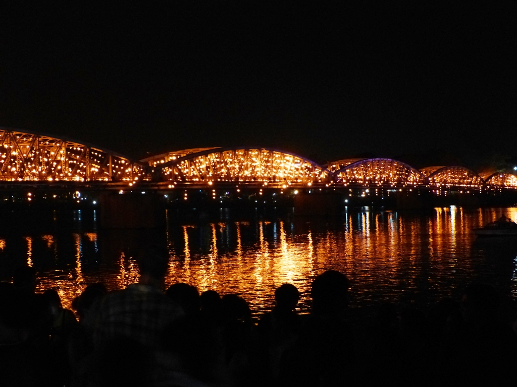 Truong Tien bridge  on fire
