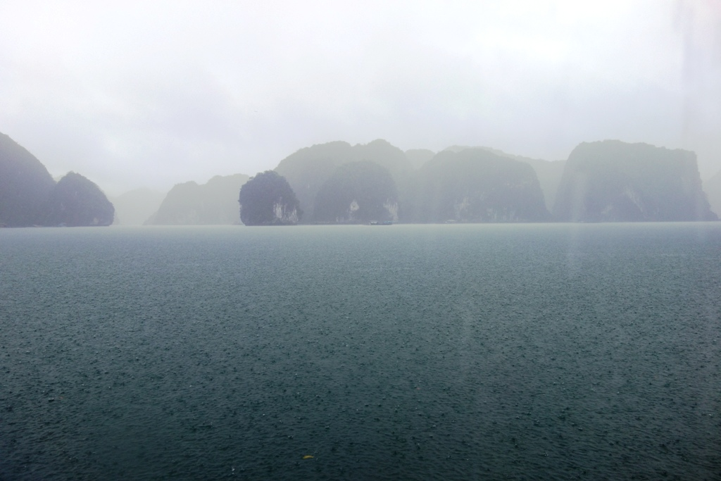 Rainy day in Ha Long bay